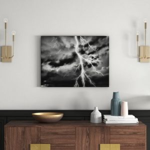 Dangerous Lighting in a Stormy Sky Wall Art on Canvas East Urban Home Size: 70cm H x 100cm W
