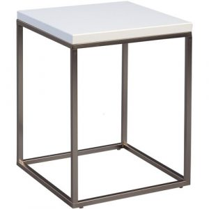 Devos Side Table Mercury Row Frame colour:: Grey, Tabletop Colour: White