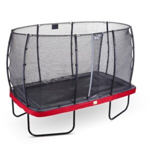 Elegant Backyard Above Ground Trampoline with Safety Enclosure Exit Toys Pad Colour: Red