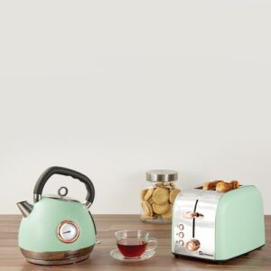 Epoque 1.8L Stainless Steel Electric Kettle and 2 Slice Toaster Set SQ Professional Colour: Green