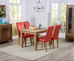 Ex-display Cheadle 120cm Oak Extending Dining Table with 4 RED Albany Chairs