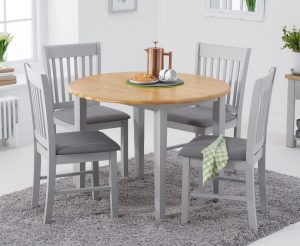 Genoa Oak and Grey 100cm Extending Dining Table with Chairs with Fabric Seats - Oak and Grey, 4 Chairs
