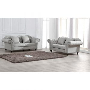 Hosteen 2 Piece Sofa Set Canora Grey Upholstery Material: Linen, Upholstery Colour: Grey