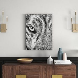 Husky with Ice Blue Eyes in Monochrome Wall Art on Canvas East Urban Home Size: 80 cm H x 120 cm W