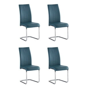 Larkson Upholstered Dining Chair Metro Lane Upholstery Colour: Teal, Number Of Chairs: 4