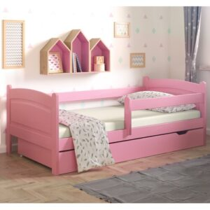 Lugo Toddler Bed with Drawer Nordville Size: European Toddler (80 x 160cm), Colour (Bed Frame): Pink