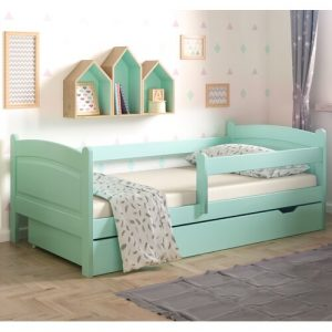 Lugo Toddler Bed with Drawer Nordville Size: European Toddler (80 x 160cm), Colour (Bed Frame): Turquoise
