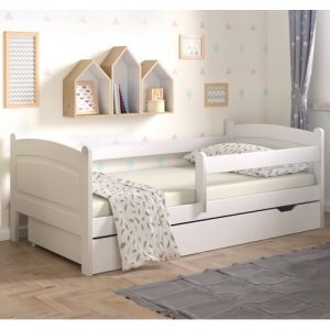 Lugo Toddler Bed with Drawer Nordville Size: European Toddler (80 x 160cm), Colour (Bed Frame): White