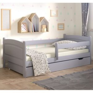 Lugo Toddler Bed with Drawer Nordville Size: European Toddler (80 x 180cm), Colour (Bed Frame): Grey