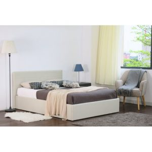Marisa Upholstered Ottoman Bed Zipcode Design Size: Double (4'6), Colour: Cream