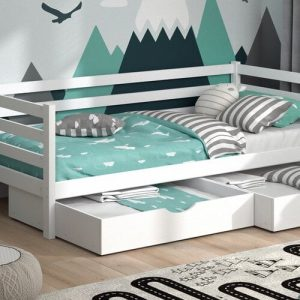 Mauston European Single (90 x 200cm) Cabin Bed with Drawers Isabelle & Max Colour (Bed Frame): White