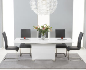 Modena 150cm White High Gloss Extending Dining Table with Malaga Chairs - Black, 4 Chairs