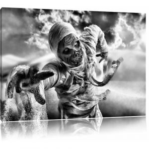 Mummy Attack in Monochrome Wall Art on Canvas East Urban Home Size: 40cm H x 60cm W