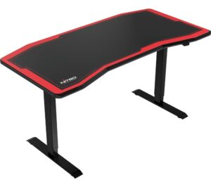 NITRO CONCEPTS D16E Carbon Gaming Desk - Black & Red, Black