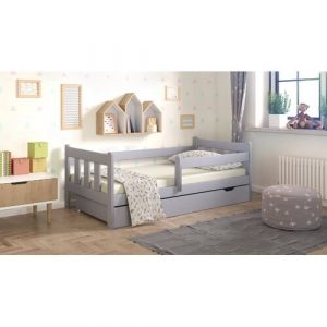 Neo Cabin Toddler Bed with Drawer Nordville Size: 80 x 160cm, Colour: Grau