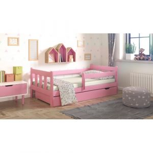 Neo Cabin Toddler Bed with Drawer Nordville Size: 80 x 160cm, Colour: Pink