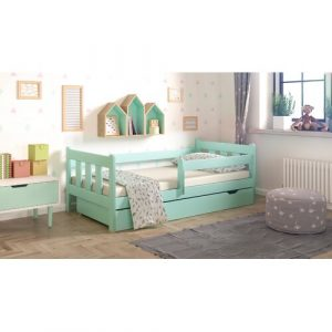 Neo Cabin Toddler Bed with Drawer Nordville Size: 80 x 180cm, Colour: Turquoise