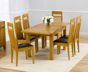 Normandy 120cm Solid Oak Extending Dining Table with Monaco Chairs