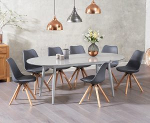 Olivia Extending Light Grey High Gloss Dining Table with Oscar Faux Leather Round Leg Chairs - White, 4 Chairs
