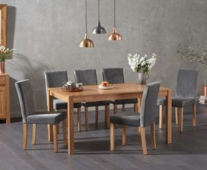 Oxford 150cm Solid Oak Dining Table with Mia Velvet Chairs