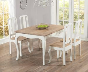 Parisian 130cm Shabby Chic Dining Table with Chairs - White, 4 Chairs