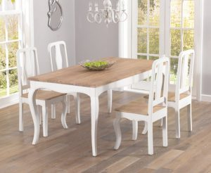 Parisian 175cm Shabby Chic Dining Table and Chairs - White, 4 Chairs