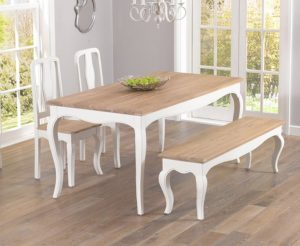 Parisian 175cm Shabby Chic Dining Table with Chairs and Benches - White, 2 Chairs