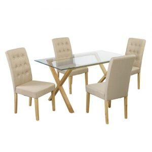 Riffe Dining Table and 4 Chairs Ophelia & Co. Colour: Beige
