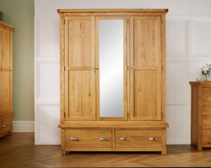 Robyn Oak 3 Door 2 Drawer Wardrobe