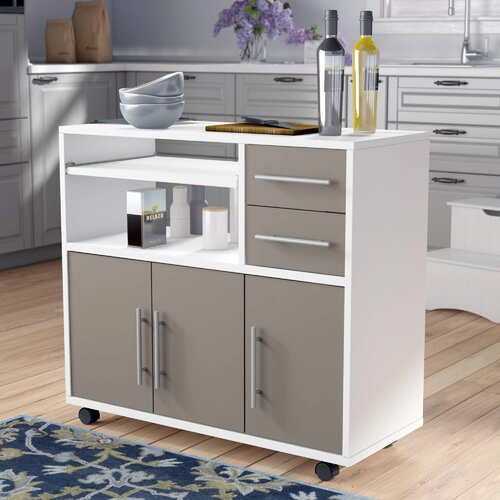 Seyma Low Microwave Cupboard Ebern Designs Base Finish: White/Taupe