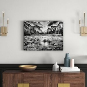 Shallow River in Autumn Wall Art on Canvas East Urban Home Size: 60cm H x 80cm W