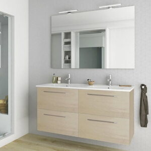 Slossberg 1200mm Wall Hung Double Vanity Unit Belfry Bathroom Vanity Base Colour: Light wood