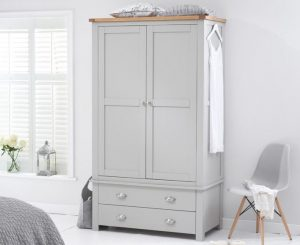 Somerset Oak and Grey Two Door Two Drawer Wardrobe