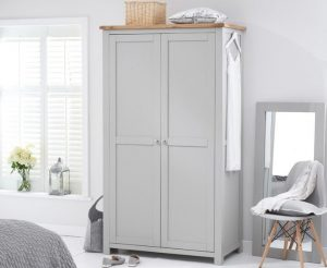Somerset Oak and Grey Two Door Wardrobe