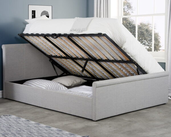 Stratus Grey Fabric Ottoman Storage Bed Frame - 4ft Small Double