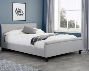 Stratus Grey Fabric Sleigh Bed Frame - 4ft6 Double