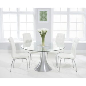 Tekla Dining Set with 4 Chairs Mercury Row Colour (Chair): White