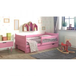 Toddler Bed with Drawer Nordville Size: European Toddler (80 x 180 cm), Colour (Bed Frame): Pink