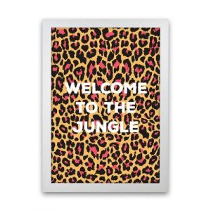 Welcome to the Jungle - Graphic Art Print on Paper Happy Larry Frame Option: White Framed, Size: 46cm H x 34cm W x 3cm D