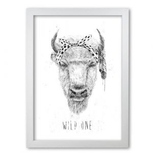 Wild One Buffalo by Mercedes Lopes Charro - Graphic Art Print on Paper East Urban Home Frame Options: White Grain, Size: 59.4 cm H x 42 cm W x 5 cm D