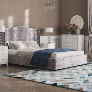 Winged Back Upholstered Ottoman Bed Rosdorf Park Colour: Sliver, Size: Double (4'6)