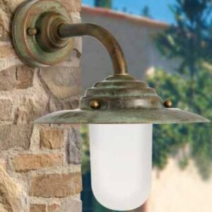 1 Light Outdoor Wall Lantern Moretti Luce Finish (mount): Auburn antique brass, Lampshade finish: Opal white