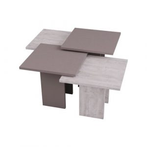 4 Piece Coffee Table Set Symple Stuff Colour: White/Light Mocca