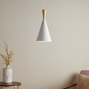 Arraqis Matt White Wood effect Pendant ceiling light