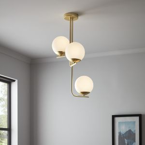 Baldaz Brushed Brass effect 3 Lamp Pendant ceiling light