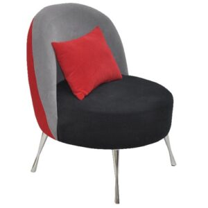 Barrel Chair Happy Barok Upholstery Colour: Red/Grey/Black