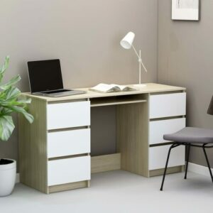 Bonaparte Desk Brayden Studio Colour: White/Sonoma Oak