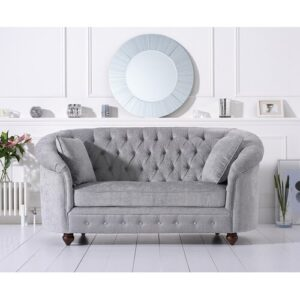 Cartensen 2 Seater Chesterfield Sofa Three Posts Upholstery Colour: Grey Plush