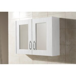 Clairview 79cm x 59.5cm Surface Mount Mirror Cabinet Nuie Finish: White