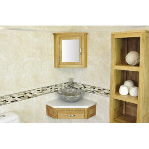 Couch Compact Solid Oak 550mm Free-Standing Vanity Unit Belfry Bathroom Top Finish: White Marble, Sink Finish: Grey Marble
